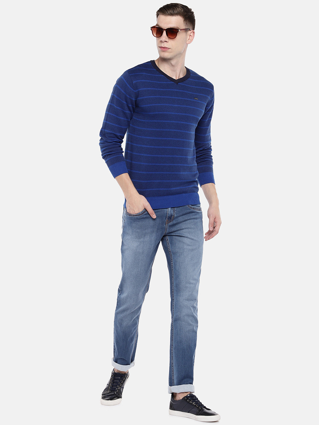 Blue Striped Pullover Sweater-4
