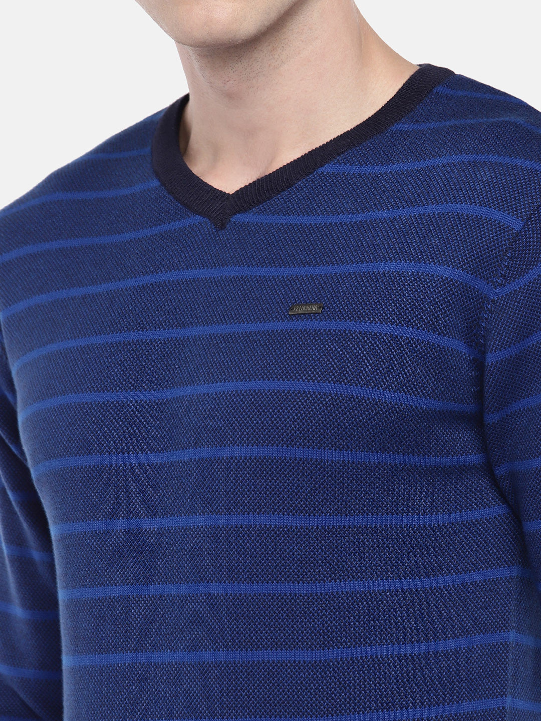 Blue Striped Pullover Sweater-5