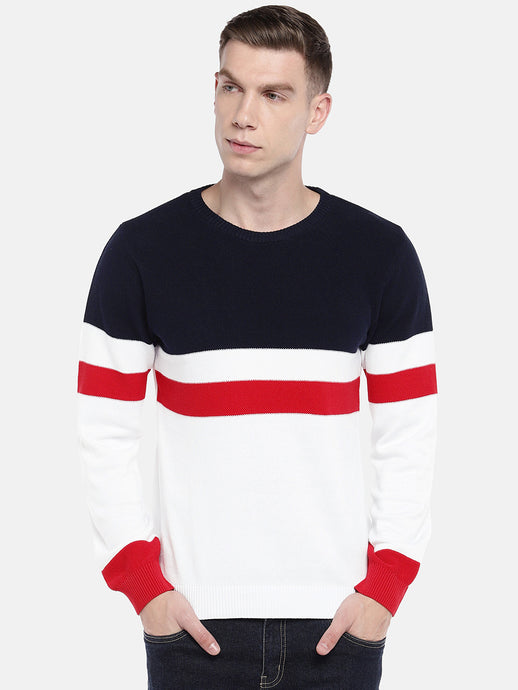 White & Navy Blue Colourblocked Pullover Sweater-1