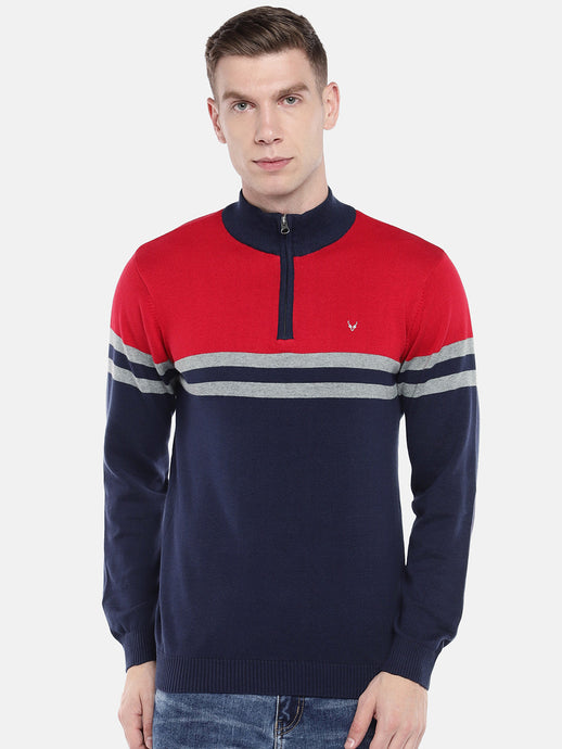Red & Navy Blue Colourblocked Pullover Sweater-1