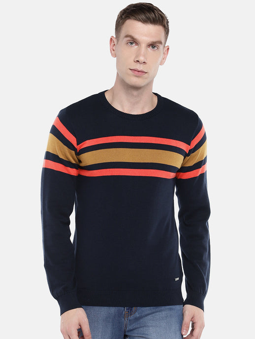 Navy Blue & Yellow Striped Pullover Sweater-1