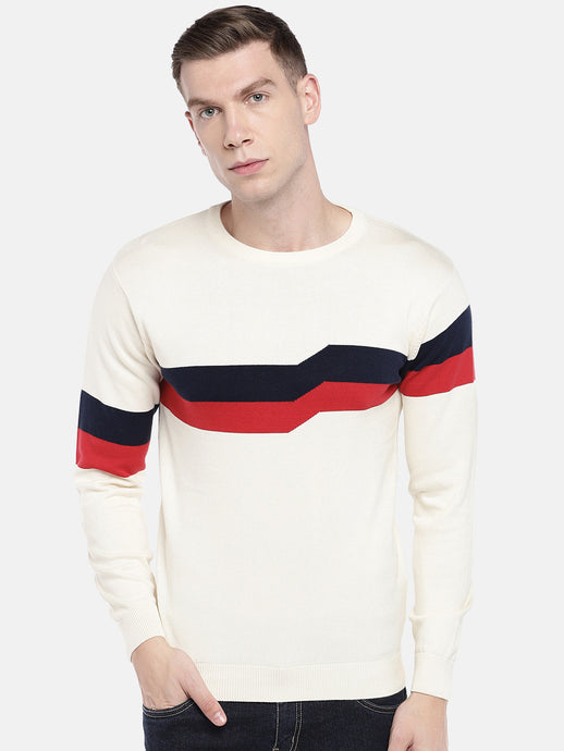 White Colourblocked Sweater-1