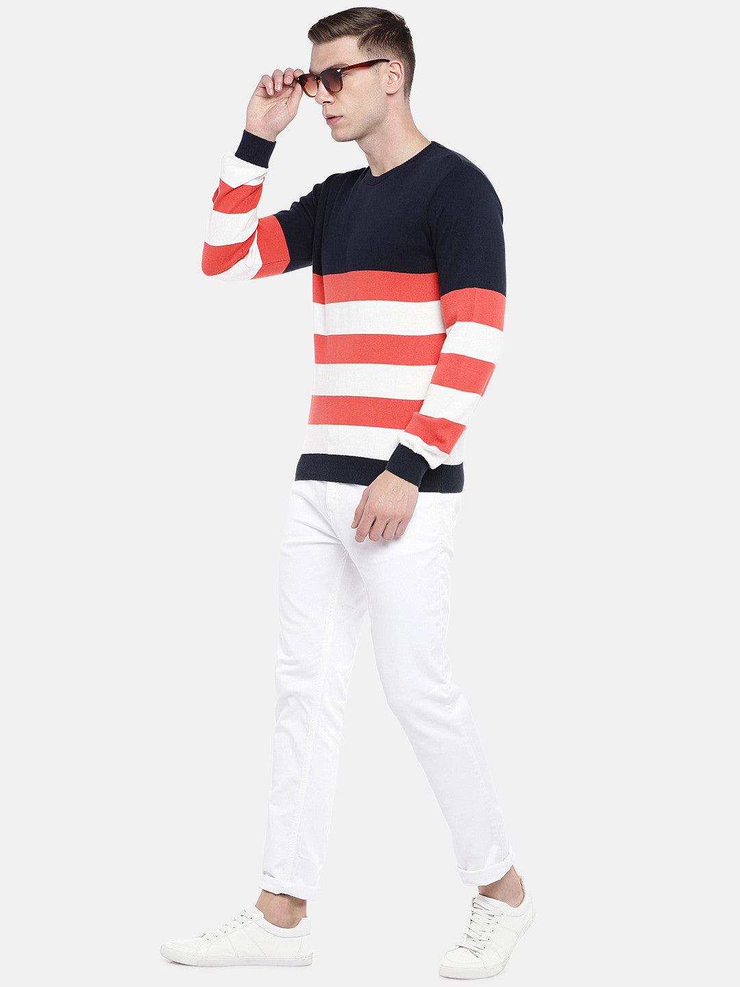 Orange & White Striped Sweater-4