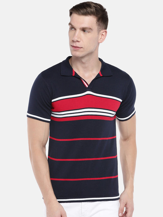 Navy Blue & Red Striped Polo Collar T-shirt-1