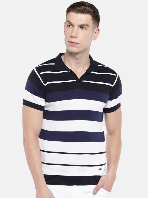 Navy Blue & White Striped Polo Collar T-shirt-1