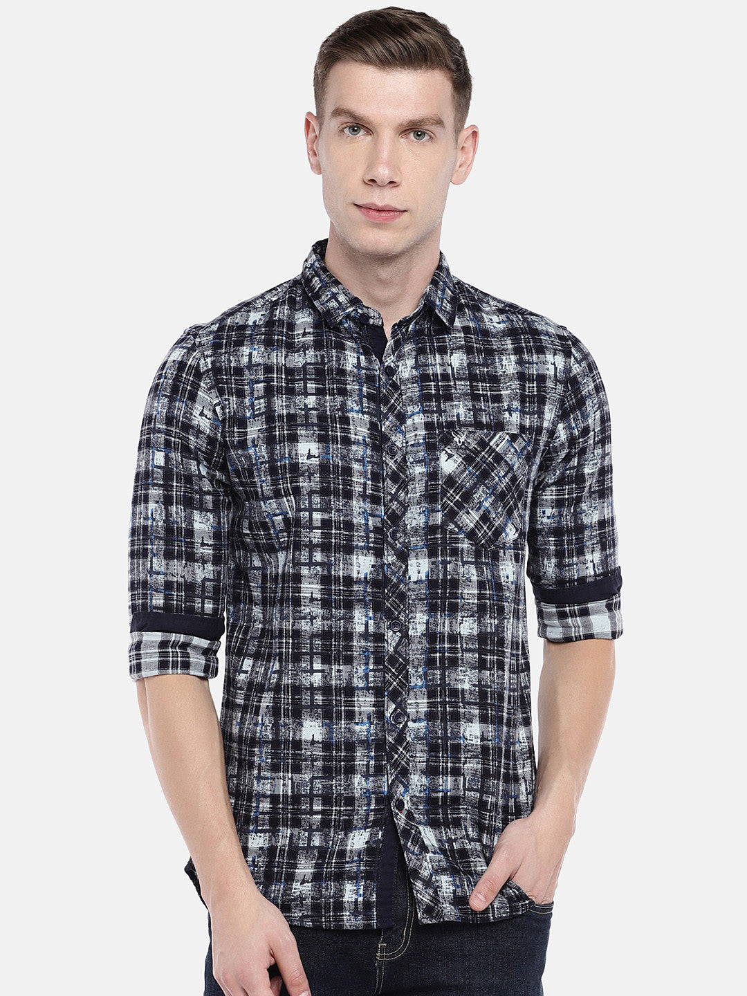 Navy Blue & Grey Regular Fit Checked Casual Shirt-1