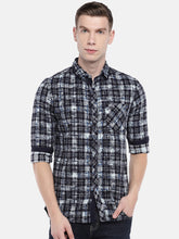 Load image into Gallery viewer, Navy Blue & Grey Regular Fit Checked Casual Shirt-1