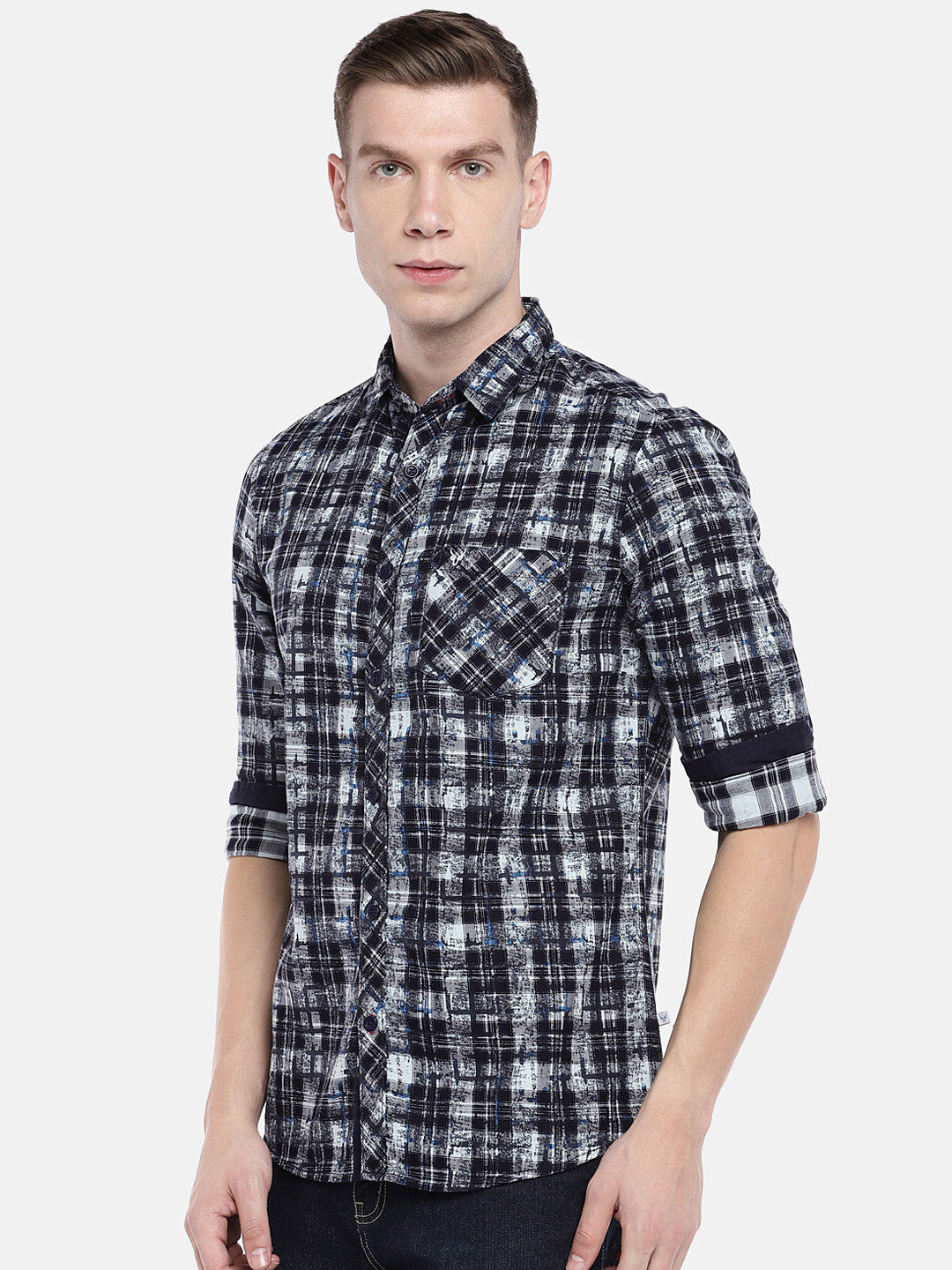 Navy Blue & Grey Regular Fit Checked Casual Shirt-2