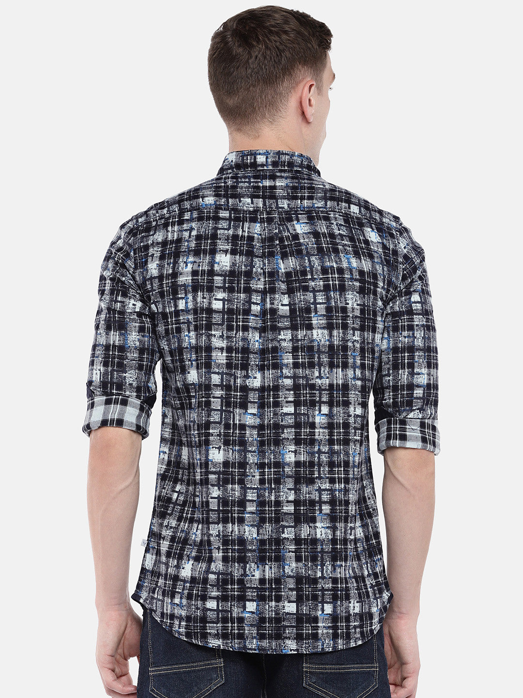 Navy Blue & Grey Regular Fit Checked Casual Shirt-3