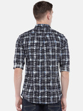 Load image into Gallery viewer, Navy Blue & Grey Regular Fit Checked Casual Shirt-3