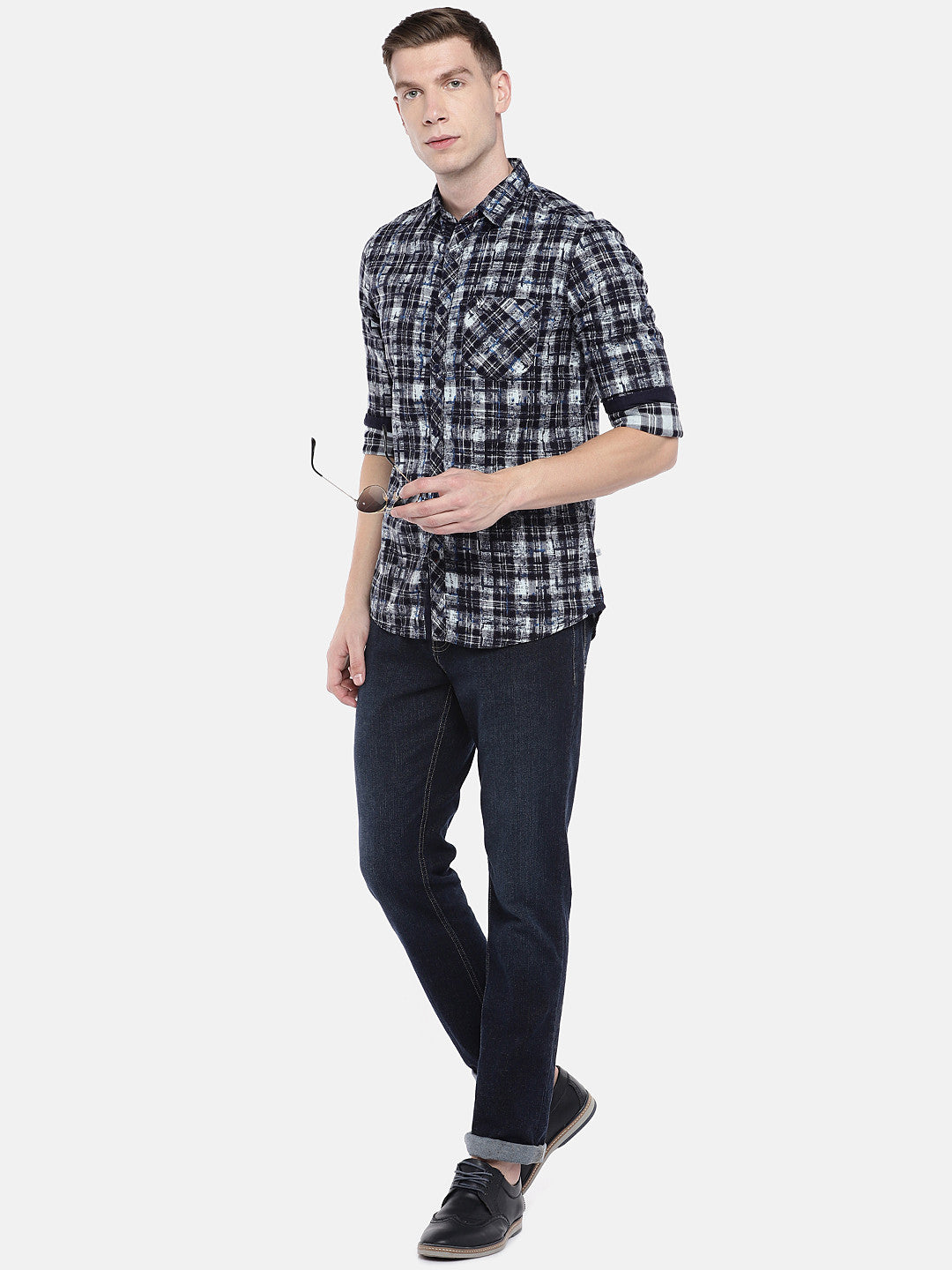 Navy Blue & Grey Regular Fit Checked Casual Shirt-4