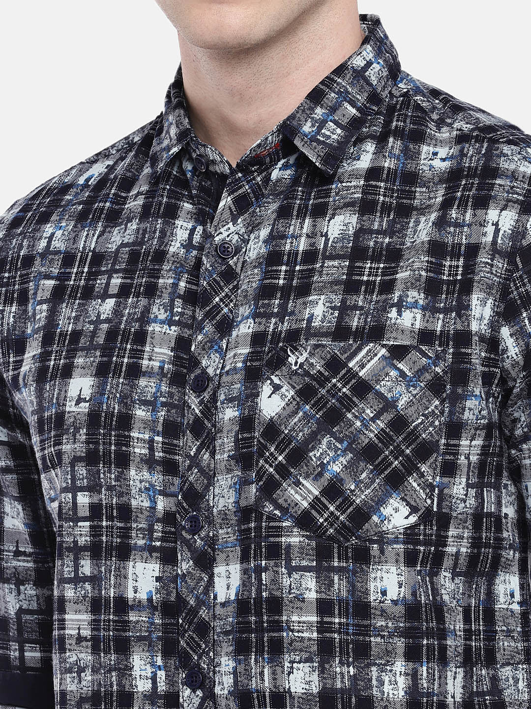Navy Blue & Grey Regular Fit Checked Casual Shirt-5