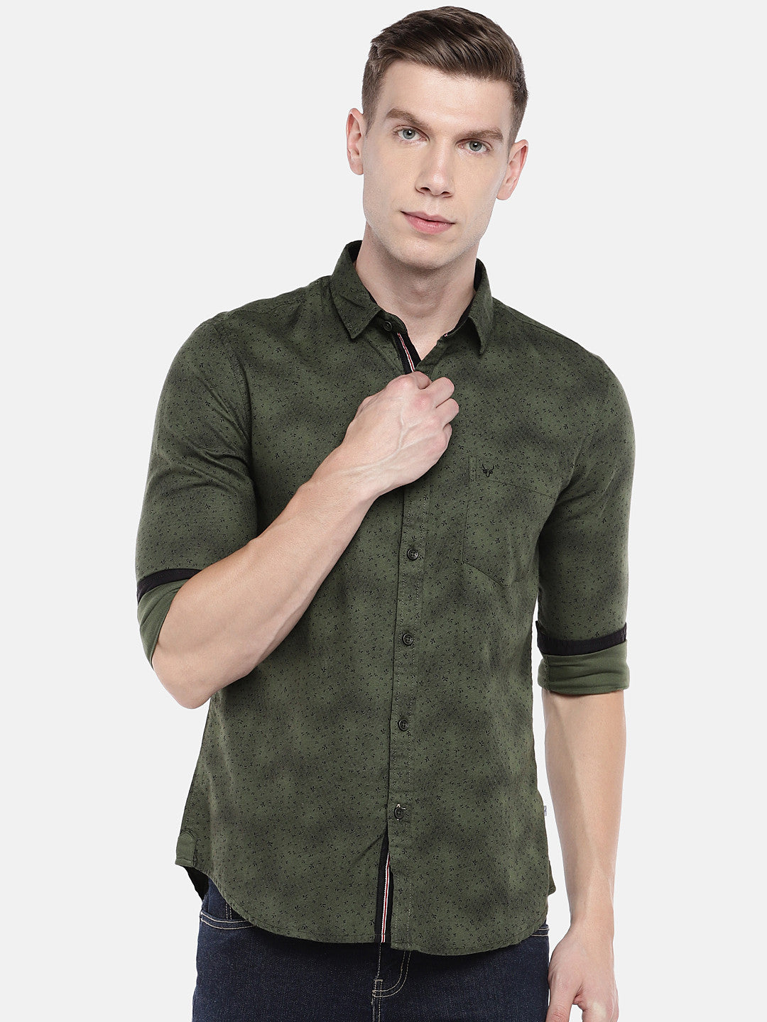 Olive Green Regular Fit Printed Casual Shirt-1