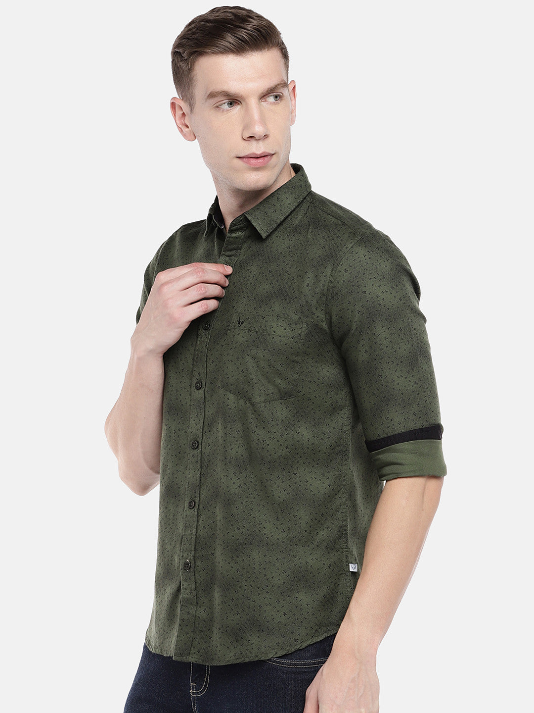 Olive Green Regular Fit Printed Casual Shirt-2