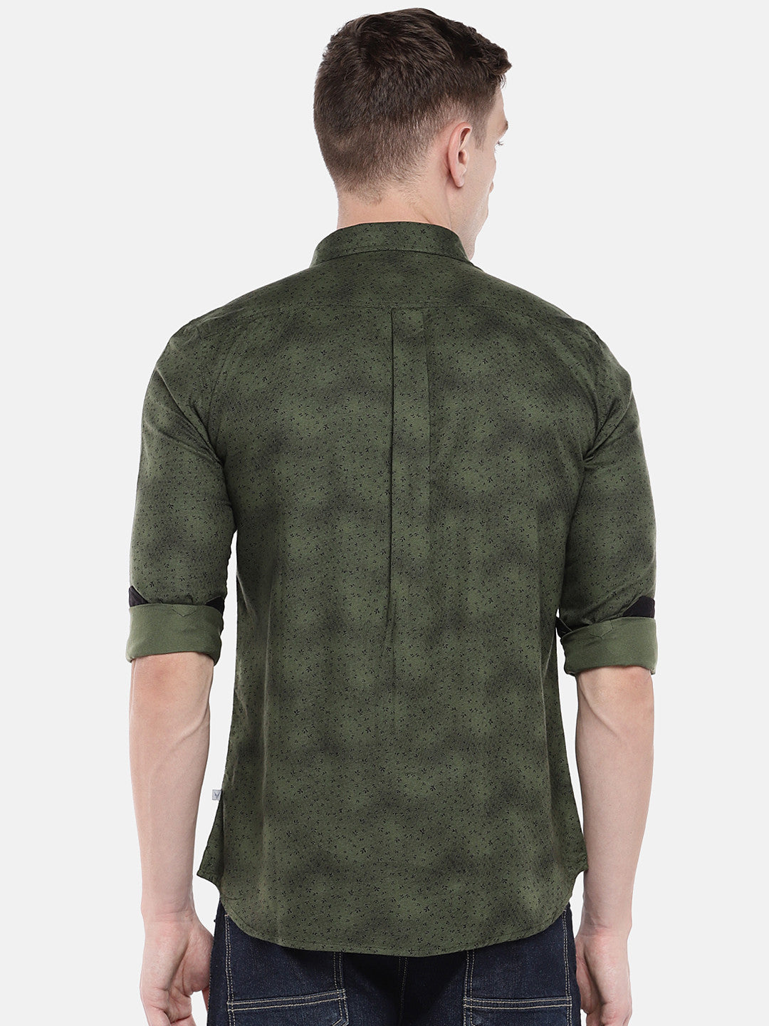 Olive Green Regular Fit Printed Casual Shirt-3