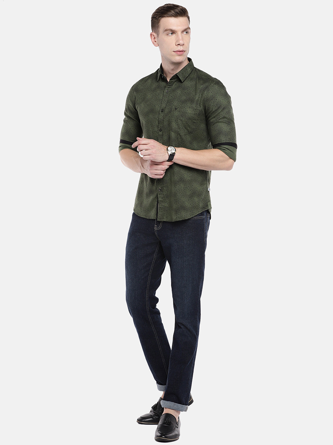 Olive Green Regular Fit Printed Casual Shirt-4