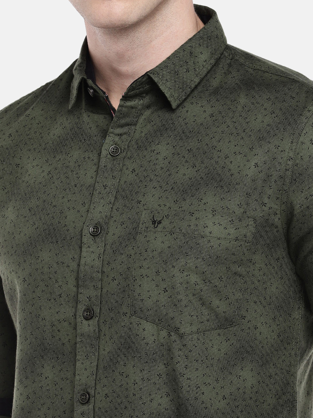 Olive Green Regular Fit Printed Casual Shirt-5
