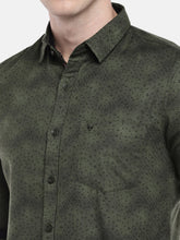 Load image into Gallery viewer, Olive Green Regular Fit Printed Casual Shirt-5