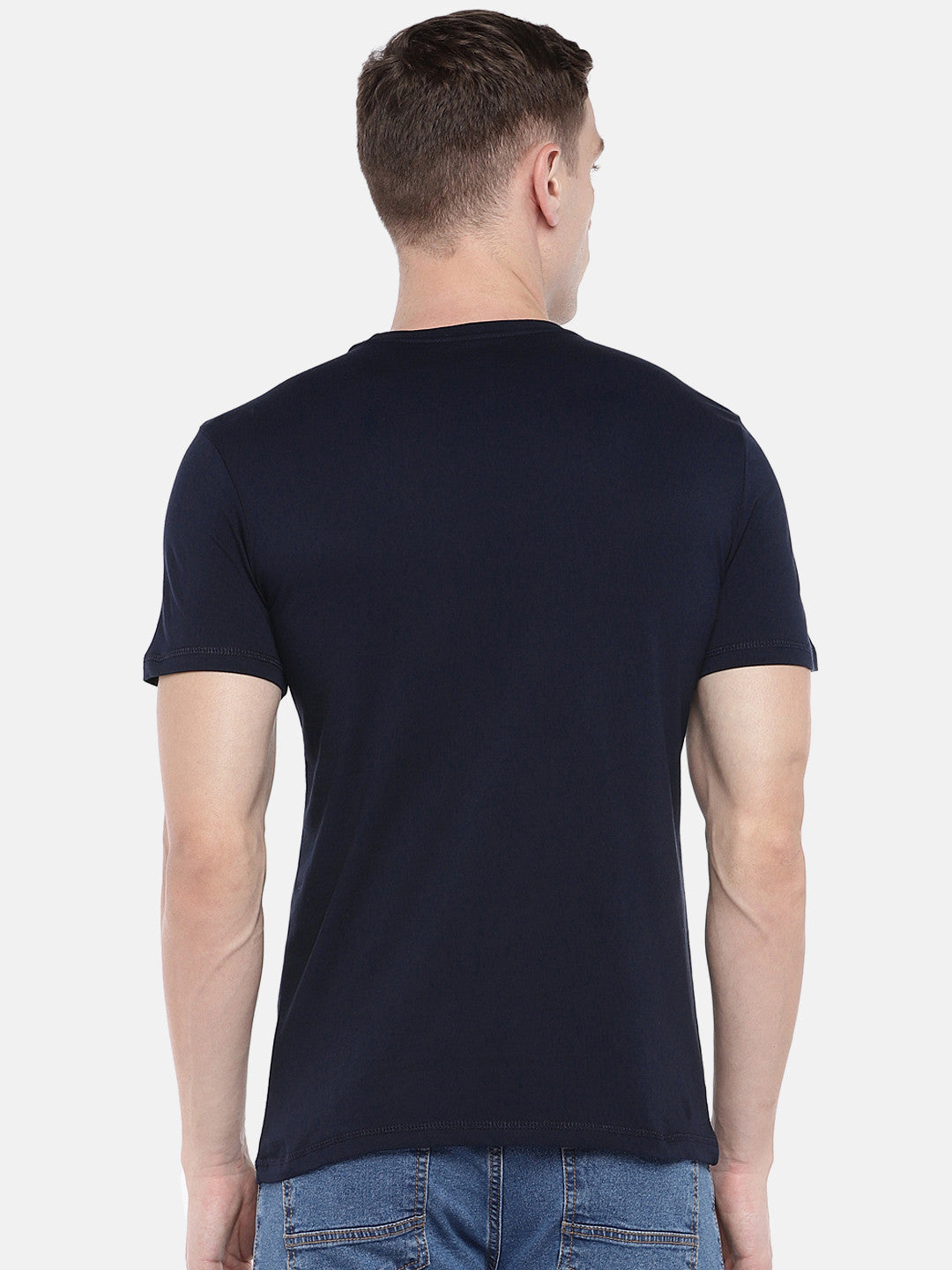 Navy Blue Printed Round Neck T-shirt-3