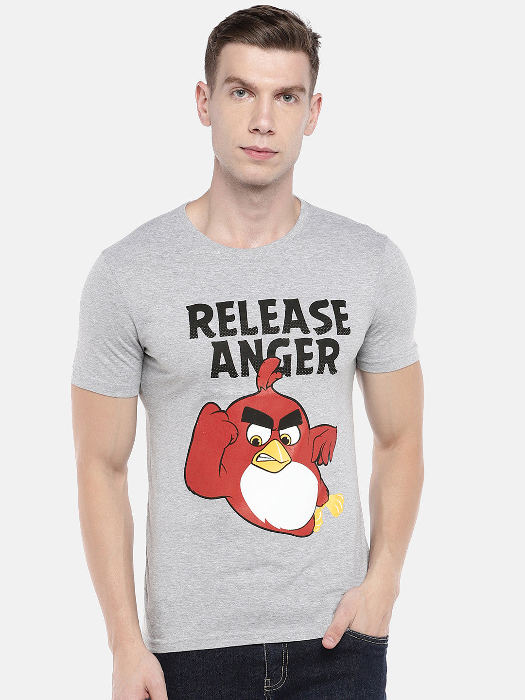 Grey Angry Birds Printed Round Neck T-shirt-1