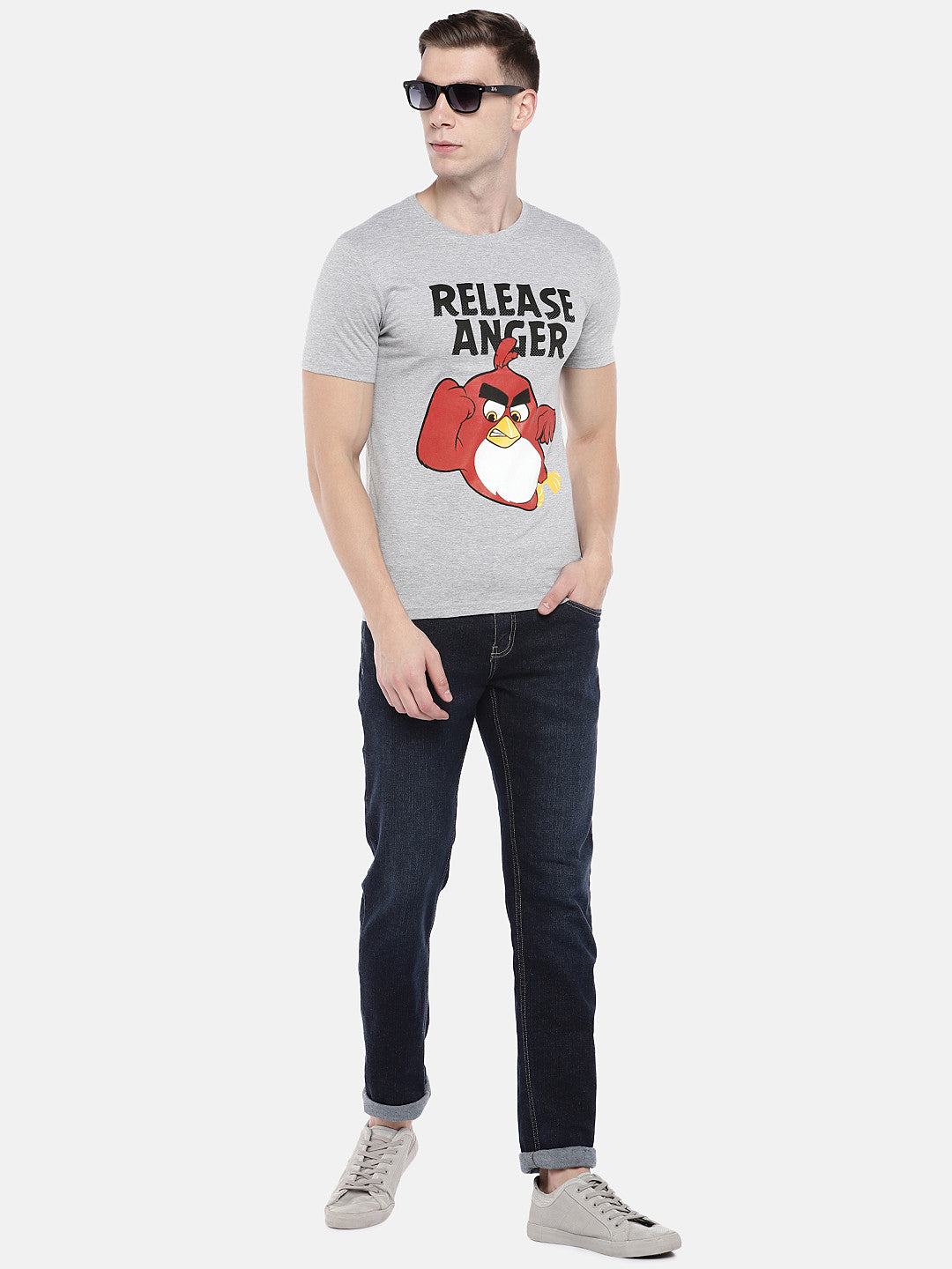 Grey Angry Birds Printed Round Neck T-shirt-4