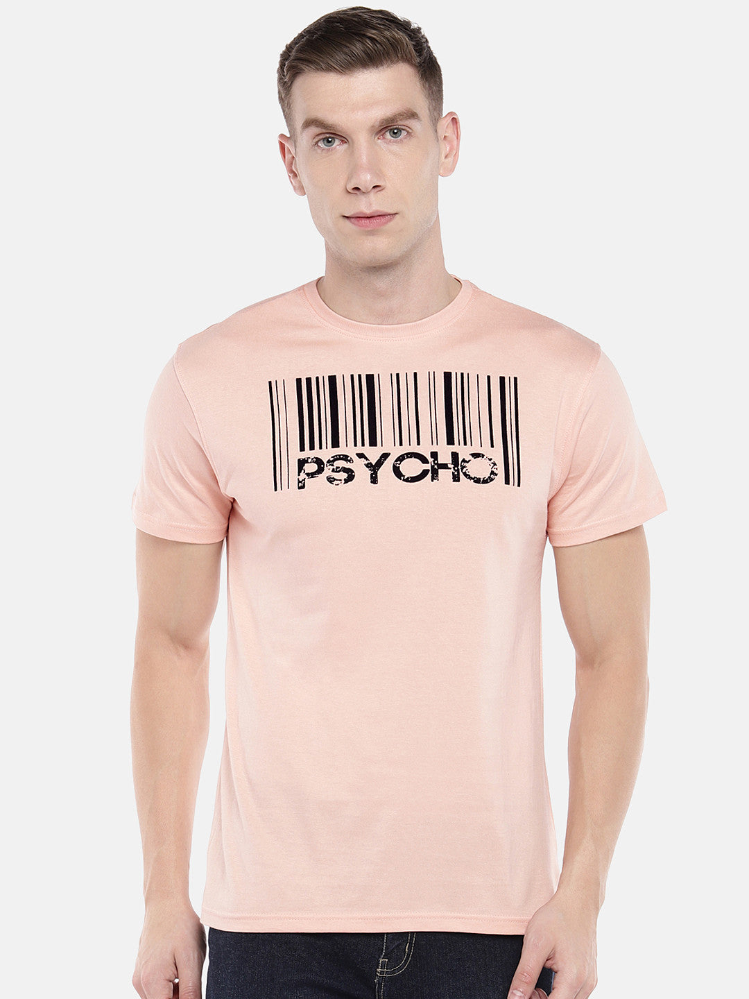 Peach-Coloured Printed Round Neck T-shirt-1