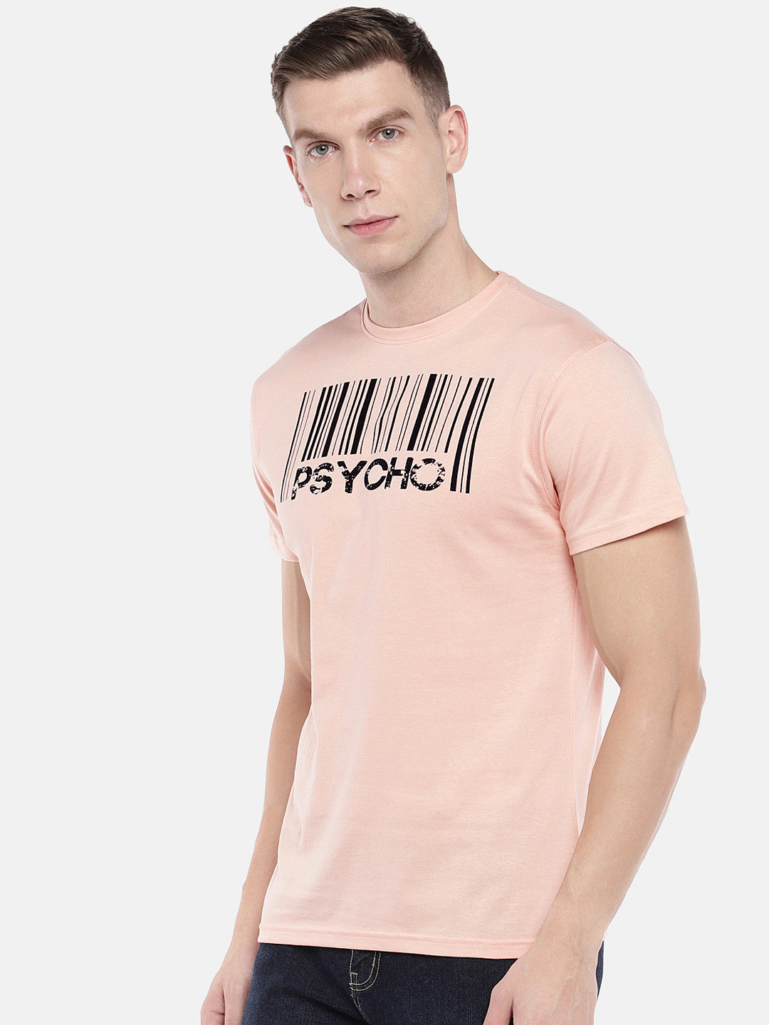 Peach-Coloured Printed Round Neck T-shirt-2