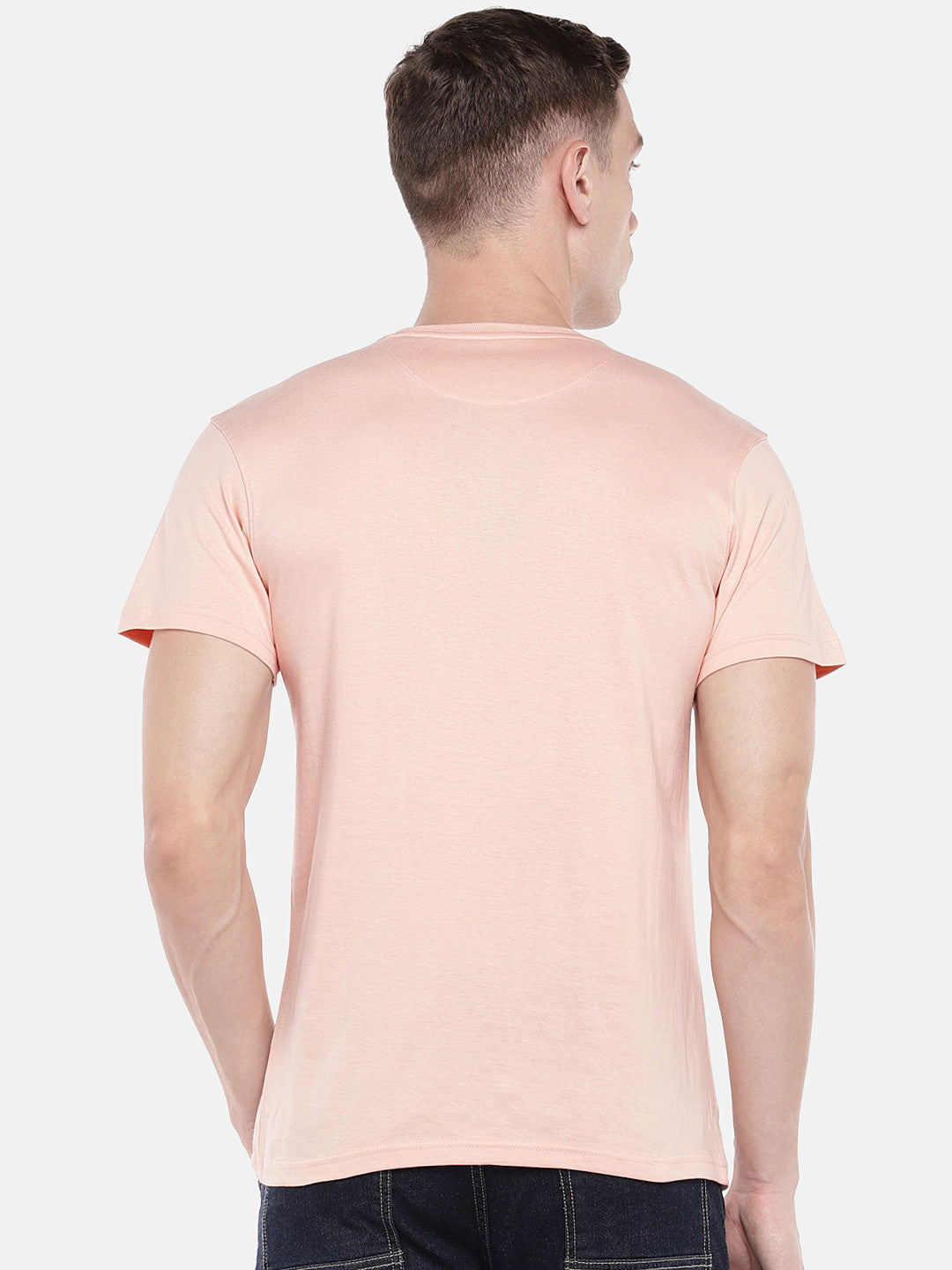 Peach-Coloured Printed Round Neck T-shirt-3