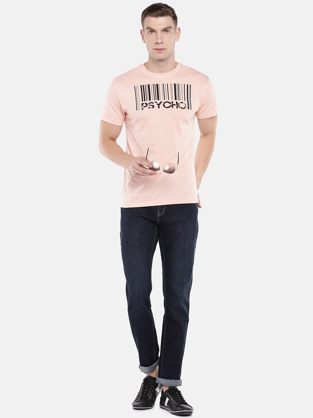 Peach-Coloured Printed Round Neck T-shirt-4