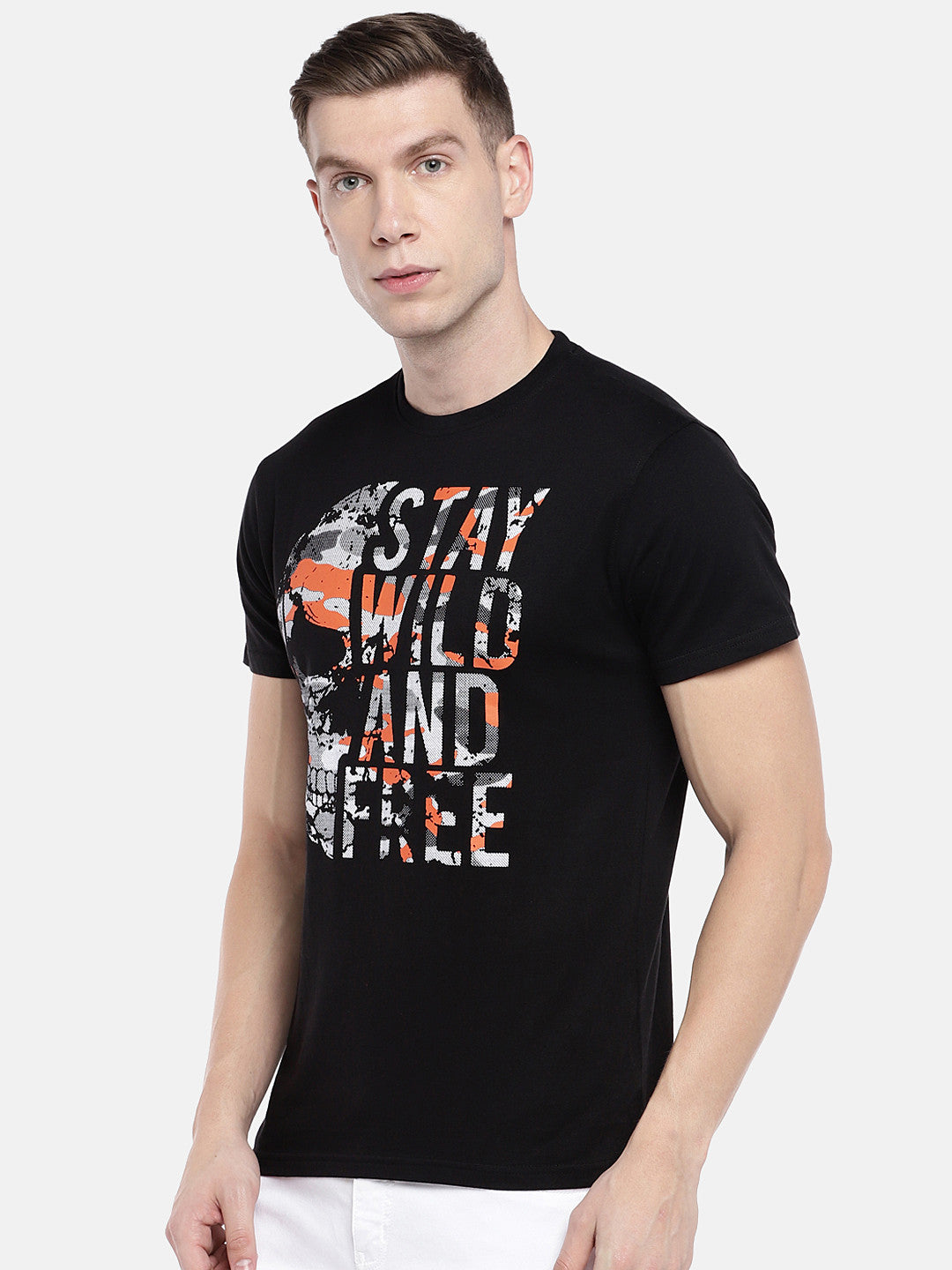 Black Printed Round Neck T-shirt-2