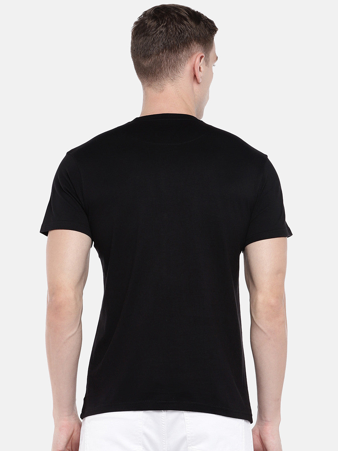 Black Printed Round Neck T-shirt-3
