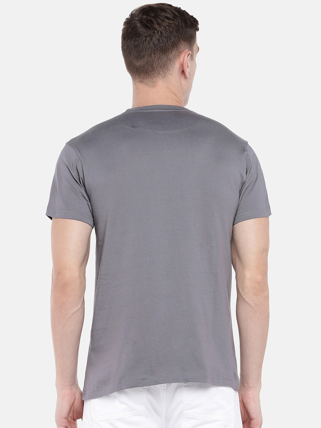 Grey Printed Round Neck T-shirt-3