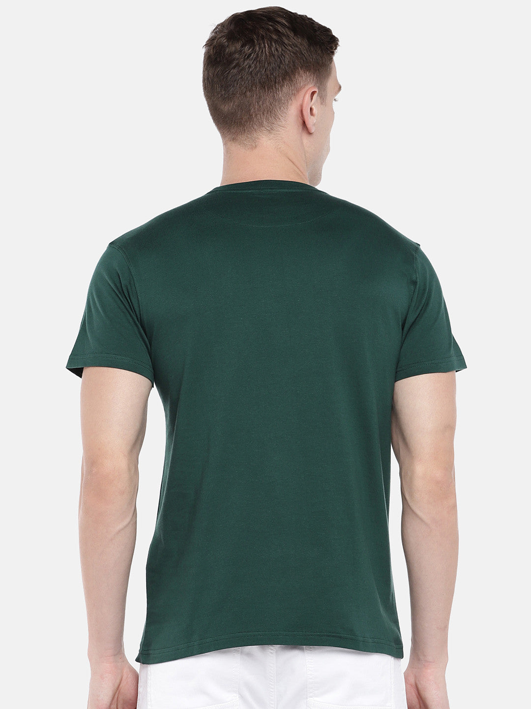Green Printed Round Neck T-shirt-3