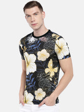 Load image into Gallery viewer, Black & Yellow Printed Round Neck T-shirt-2