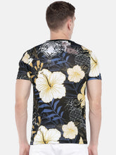 Load image into Gallery viewer, Black & Yellow Printed Round Neck T-shirt-3