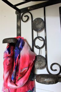 French Art Nouveau metal coat hanger with mirror