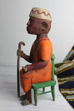 Load image into Gallery viewer, African Mid-Century wood carving of a Baule village elder
