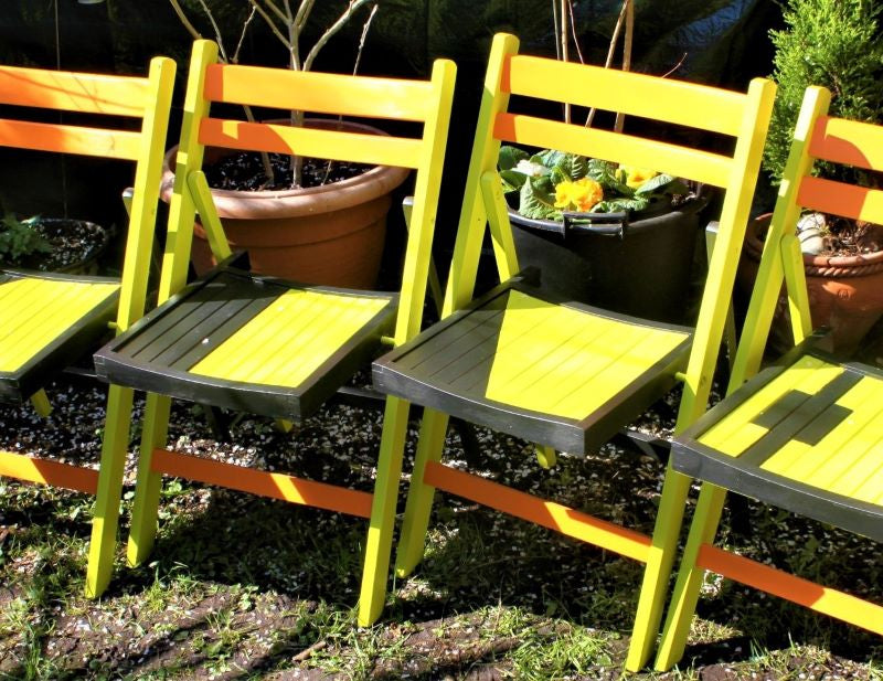 French vintage hand painted folding chair set
