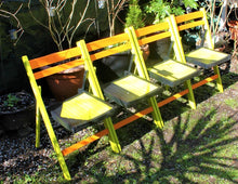 Load image into Gallery viewer, French vintage hand painted folding chair set