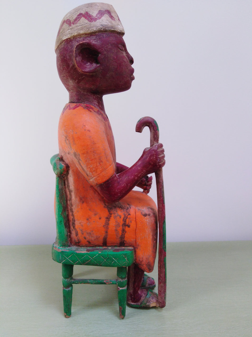 African Mid-Century wood carving of a Baule village elder