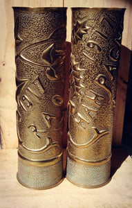 Pair of 1917 hand decorated French shell cases