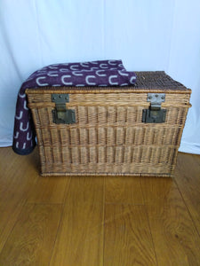 French wicker travel trunk