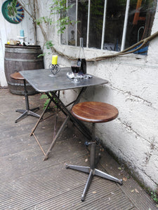 French folding metal bistro table