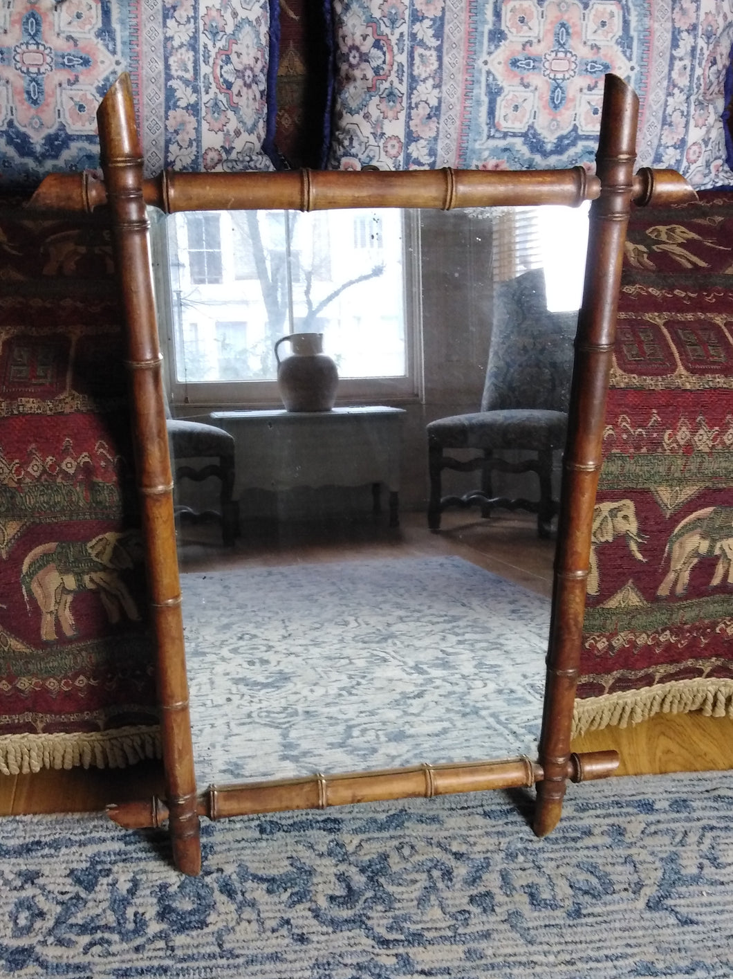 French 1930s faux bamboo framed mirror