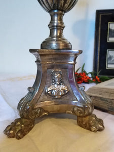 French 19th Century silver plated altar candlestick