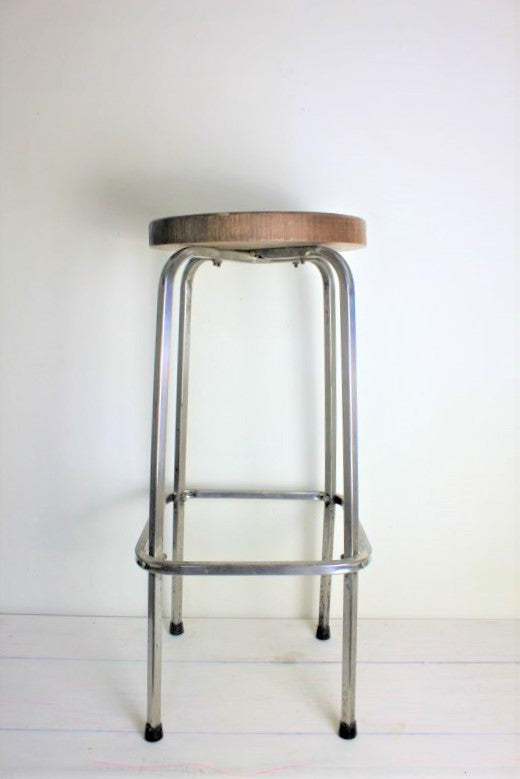 French oak top industrial stool