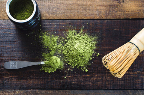 green matcha powder on cutting board