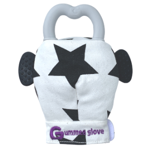 Gummee glove teething mitten Black and White Monochrome + teething ring