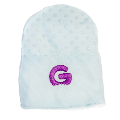 Front of gummee mitts blue