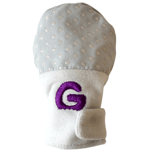 Gummee mitts showing hook and loop closed to wrap around any size wrist
